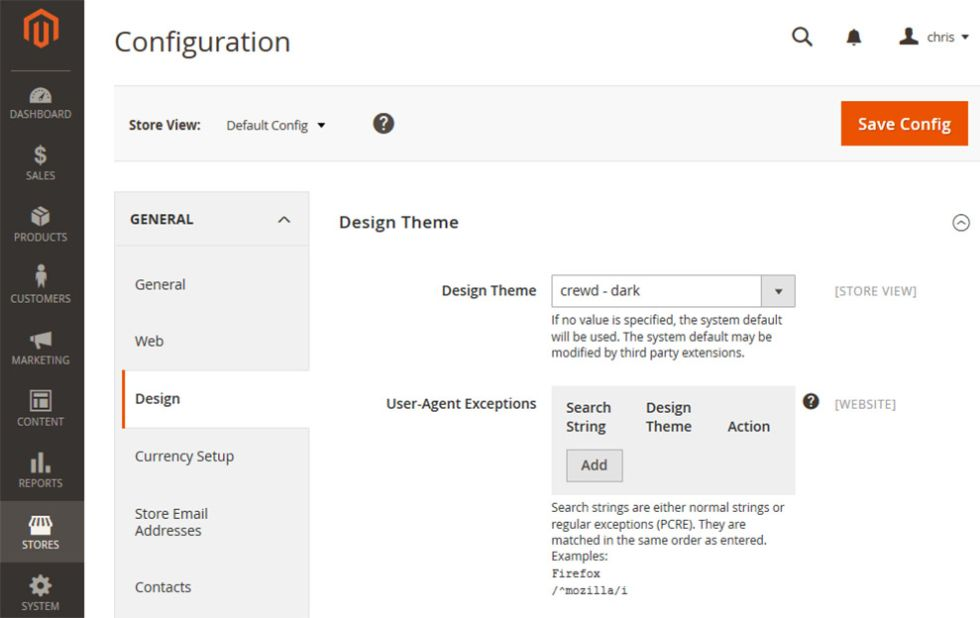 Magento 2 - Themes section